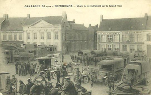 poperinge main square with vehicles ww1