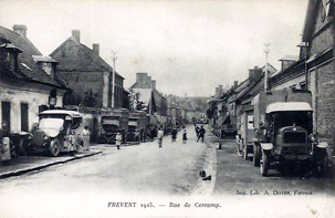 Frevent street with british lorries in ww1