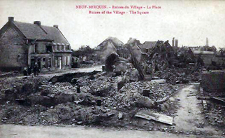 bomb damage village of neuf berquin ww1