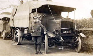 thornycroft lorry with driver