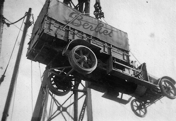 berliet being lifted aboard ship