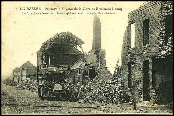 La bassee in ruins with renault lorry