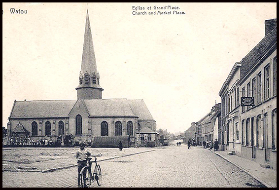 Watou church and main square pre-ww1