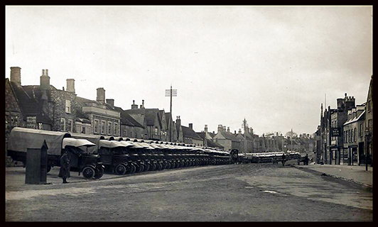 Chipping Sodbury high street in 1916 with thornycroft lorries
